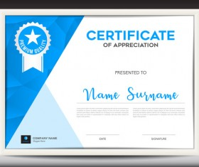 Blue certificate template layout design vector 02