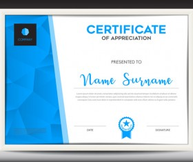 Blue certificate template layout design vector 03