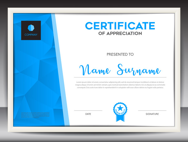 Blue Certificate Template Layout Design Vector 03  Certificate Layout
