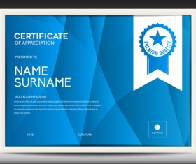 Blue certificate template layout design vector 04