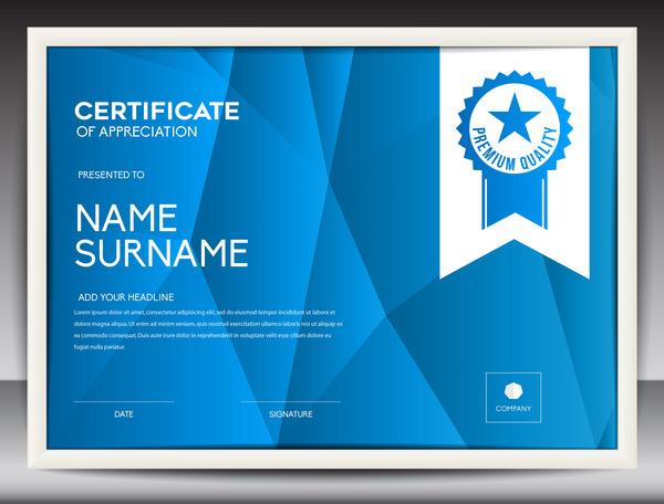 Blue certificate template layout design vector 04