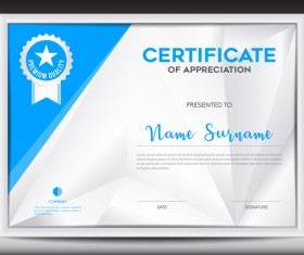 Blue certificate template layout design vector 05
