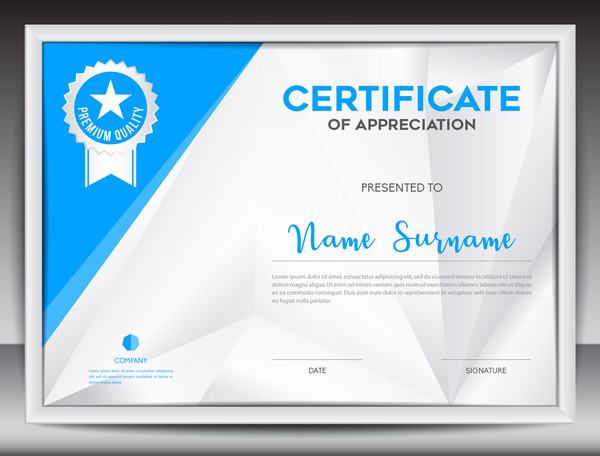Blue certificate template layout design vector 05