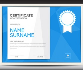 Blue certificate template layout design vector 06