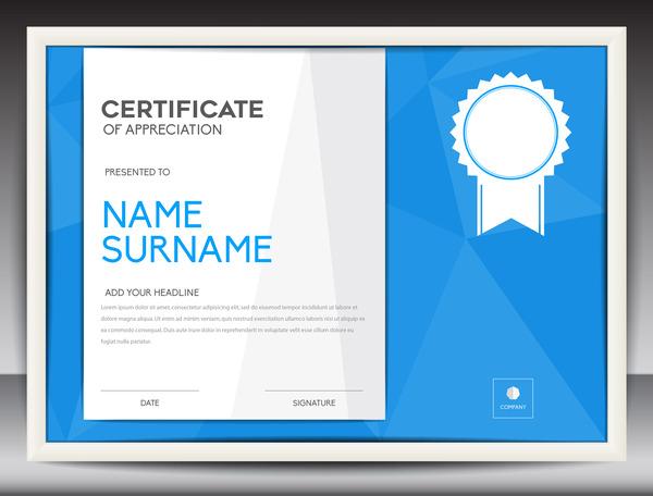 Blue certificate template layout design vector 06
