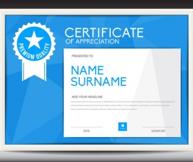 Blue certificate template layout design vector 07