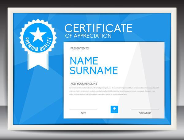 Blue certificate template layout design vector 07