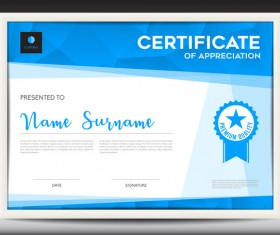 Blue certificate template layout design vector 08