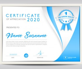 Blue certificate template layout design vector 09