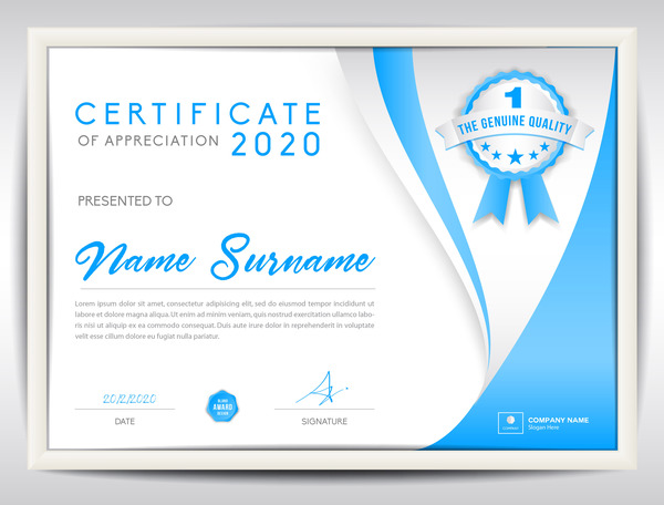 blue certificate template layout design vector 09 free