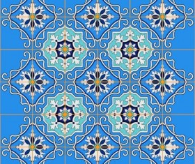 Blue floral decor pattern vector