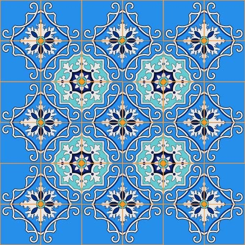 Blue floral decor pattern vector