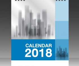 Blue vertical desk calendar 2018 cover template vector