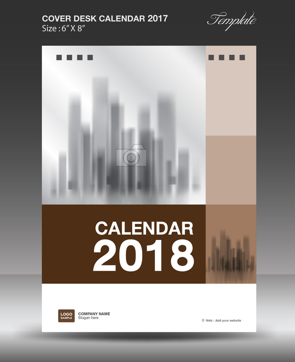 Brown vertical desk calendar 2018 cover template vector