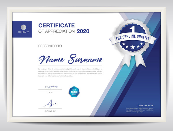Business certificate template creative design vector 01