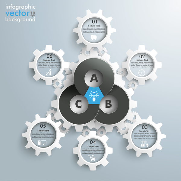 Business gear infographic vector 01