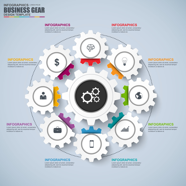 Business gear infographic vector 02