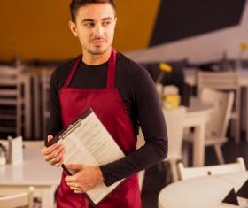 Cafe waiter Stock Photo 02