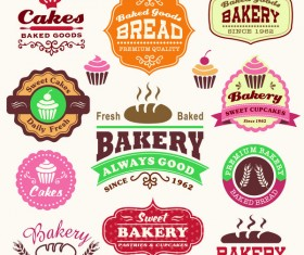 Cakes with bakery labels design vector set