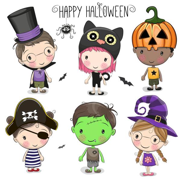 Cartoon kids with halloween vector free download