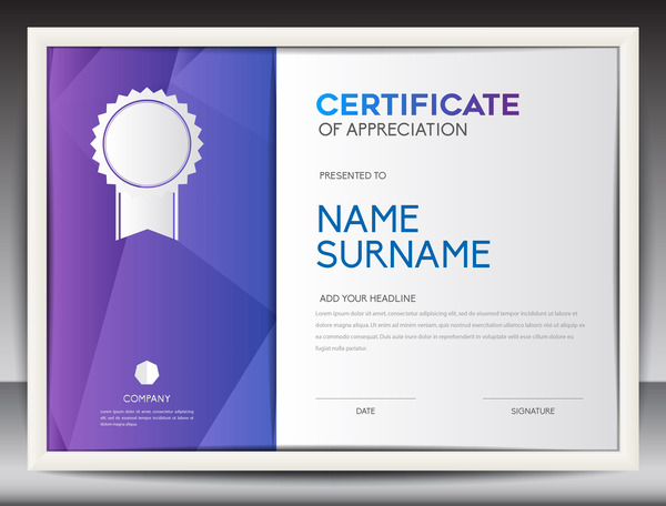 Certificate for appreciation vector template 01 vector background certificate for appreciation vector template 01 yadclub Image collections