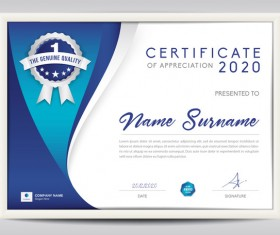 Certificate template with blue abstract background vector 01