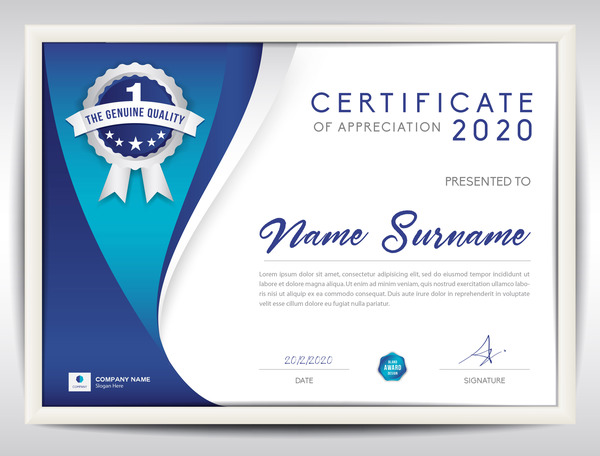Certificate template with blue abstract background vector ...