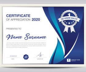 Certificate template with blue abstract background vector 02