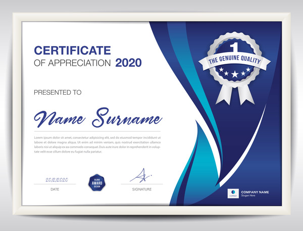 Certificate template with blue abstract background vector 02 certificate template with blue abstract background vector 02 yadclub Choice Image