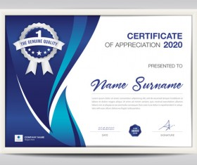 Certificate template with blue abstract background vector 03