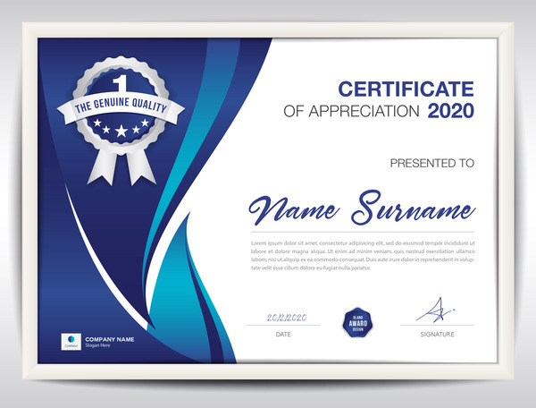 Certificate Template With Blue Abstract Background Vector