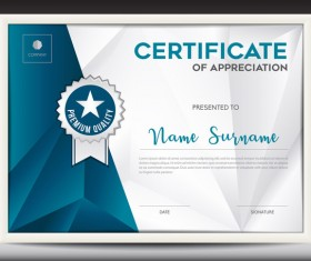 Certificate template with polygon background vector 02