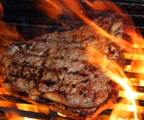 Charcoal barbecue beef Stock Photo