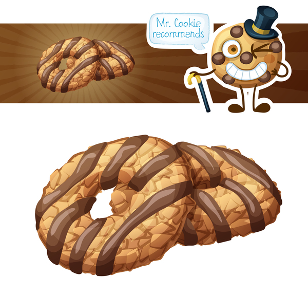 Chocolate cookies vector material