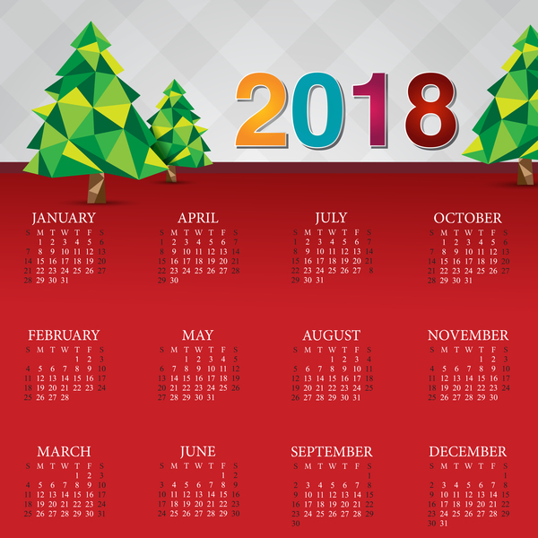 Christmas calendar 2018 template vector