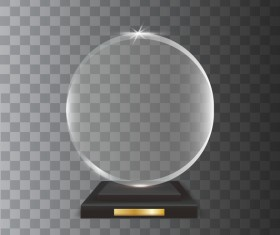 Circle acrylic glass trophy award vector