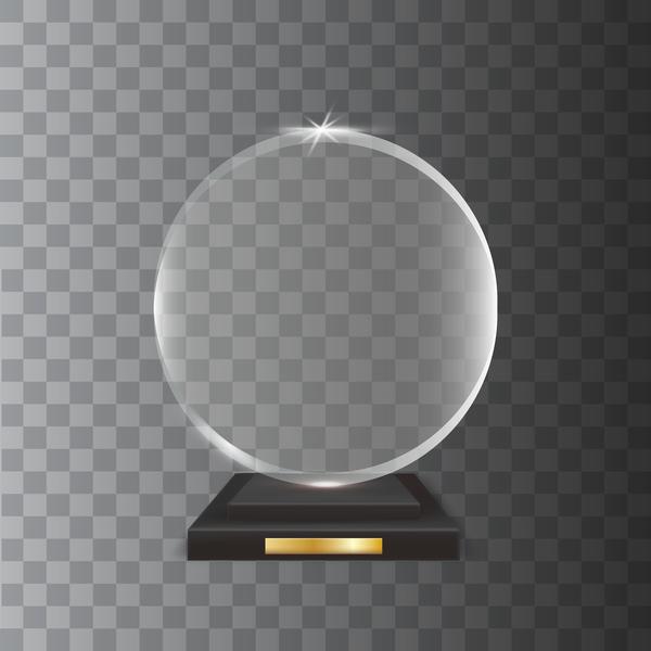Circle acrylic glass trophy award vector