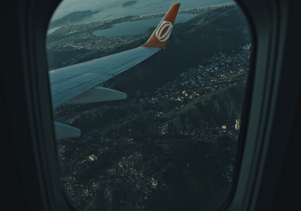 City scenery through airplane window Stock Photo