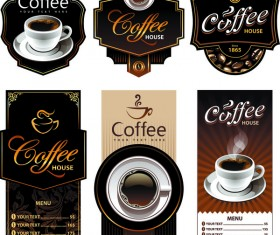 Coffee labels with menu banner vector material