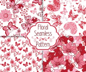 Collection of floral seamless pattern with decorative hearts and butterflies vector