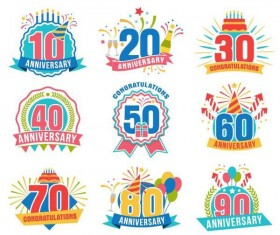 Colored anniversary labels vectors