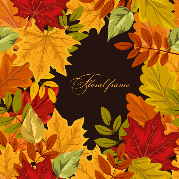 Colored autumn leaves frame vector
