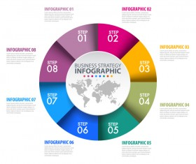 Colored circle infographic template vector