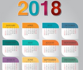 Colorful calendar 2018 template vector design 01