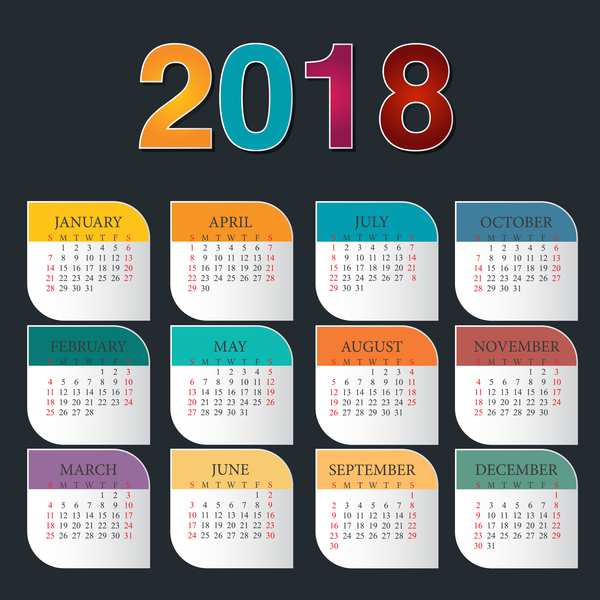 colorful calendar 2018 template vector design 02 free download. Black Bedroom Furniture Sets. Home Design Ideas