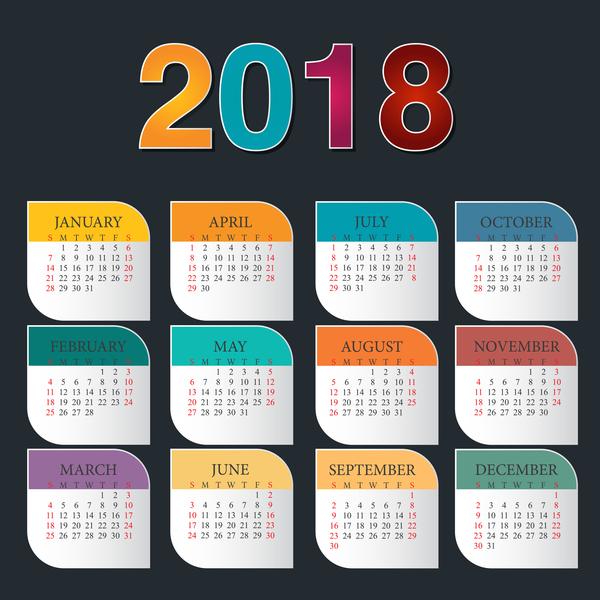 colorful calendar 2018 template vector design 02