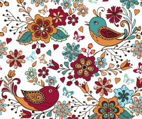 Colorful seamless pattern with birds with flowers and hearts vector