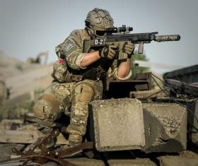 Combat soldiers Stock Photo