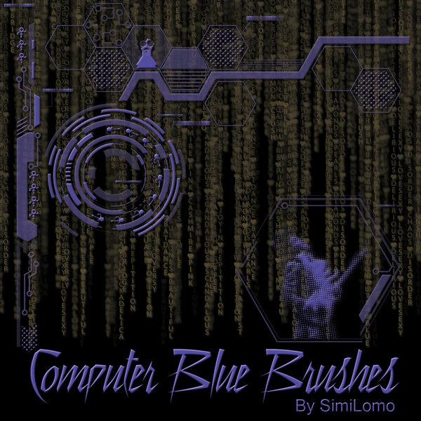 Computer Blue Photoshop Brushes