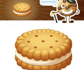 Creamy sandwich cookies vector